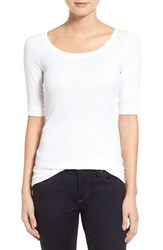 Women's Caslon Ballet Neck Cotton And Modal Knit Elbow Sleeve Tee White