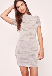 Missguided High Neck Short Sleeve Bodycon Dress Grey