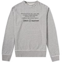 Uniform Experiment Inside Out Physical Fitness Crew Sweat Grey