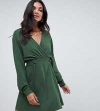 Asos Design Tall Casual Wrap Mini Dress Forest Green