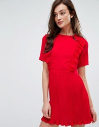 Fashion Union Dress With Ruffles And Pleat Detail Red