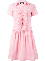 Boutique Moschino Ruffle Front Flare Dress Pink And Purple