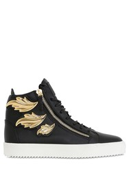 Giuseppe Zanotti Gold Leaves Leather High Top Sneakers