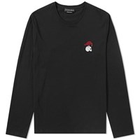 Alexander Mcqueen Long Sleeve Embroidered Motif Tee Black