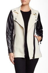 Live A Little Boiled Wool Pleather Sleeve Asymmetric Moto Jacket Black