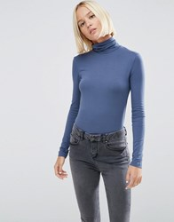 Asos The Polo Neck With Long Sleeves Blue