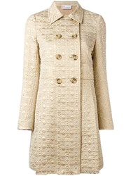 Red Valentino Jacquard Double Breasted Coat Nude Neutrals