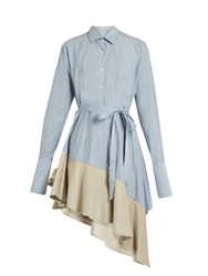 Palmer Harding Asymmetric Corduroy Hem Fluted Cotton Dress Light Blue