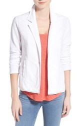 Caslon One Button Knit Blazer Petite White