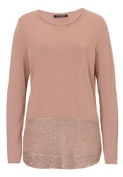 Betty Barclay Fine Knit Tunic With Sequined Hem Brown