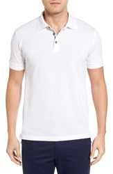 Bobby Jones Men's Solid Pique Golf Polo White