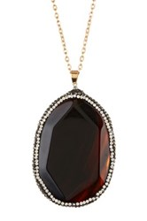 Natasha Accessories Long Chain Large Pave Pendant Necklace Black