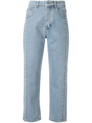 Msgm Contrast Stitching Cropped Jeans 60
