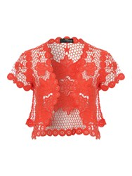 Jane Norman Flower Crochet Shrug Pink
