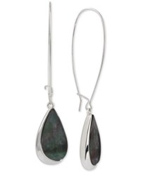Robert Lee Morris Soho Silver Tone Teardrop Stone Long Drop Earrings
