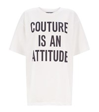 Moschino Printed Slogan Oversized T Shirt Female White