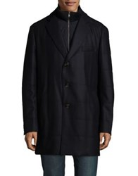 Black Brown Buttoned Coat Navy