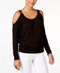 Thalia Sodi Cold Shoulder Blouse Only At Macy's Deep Black