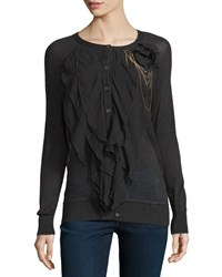 Haute Hippie Multi Layer Ruffle Front Cardigan Black
