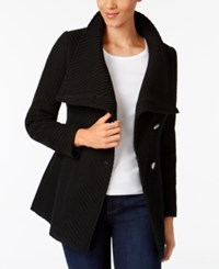 Inc International Concepts Asymmetrical Belted Walker Coat Created For Macy's Black