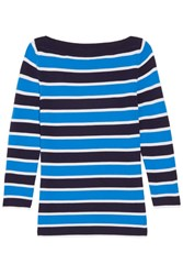 Michael Kors Collection Striped Cashmere Sweater Light Blue