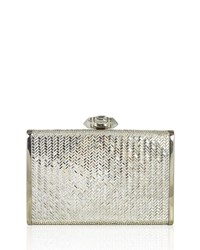Judith Leiber Tall Slender Herringbone Crystal Clutch Bag Silver