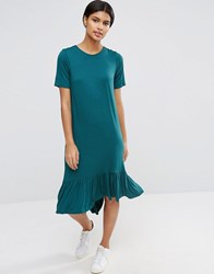 Asos Frill Hem Midi T Shirt Dress Green