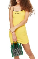 Topshop Tosphop All About Love Mini Body Con Dress Yellow Multi