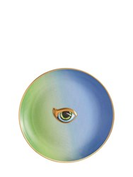 L'objet Lito Green And Blue Porcelain Plate Multicolor
