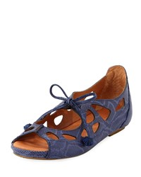 Gentle Souls Brynn Snake Embossed Lace Up Sandal Navy
