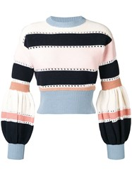 Self Portrait Puff Sleeve Striped Sweater Pink