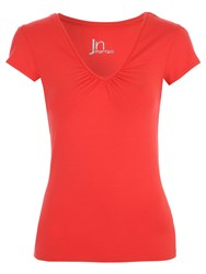 Jane Norman Essential Deep V Short Sleeve T Shirt Red