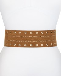 Neiman Marcus Grommet Faux Suede Stretch Belt Cognac Red