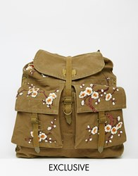 Reclaimed Vintage Military Backpack With Floral Patches Green