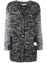 Iceberg Knitted Pom Pom Detail Cardigan Black