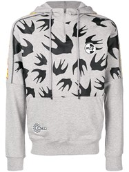 Mcq By Alexander Mcqueen Swallow Print Hoodie Grey