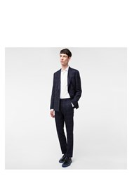 Paul Smith Men's Slim Fit Navy Two Tone Windowpane Check Wool Trousers Blue