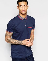 Brave Soul Geo Contrast Collar Polo Navy