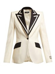 Dolce And Gabbana Contrast Lapel Single Breasted Wool Blend Blazer Black Cream