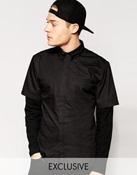 Standard Issue Exclusive Shirt With Contrast Jersey Sleeves Black