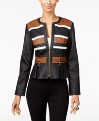 Inc International Concepts Faux Leather Peplum Moto Jacket Only At Macy's Washed White