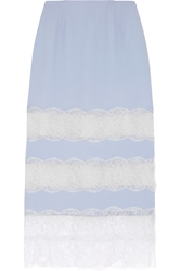 Wes Gordon Lace Paneled Crepe Midi Skirt