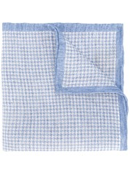 Eleventy Woven Houndstooth Scarf Blue