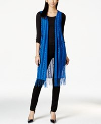 Ny Collection Open Knit Long Fringe Vest