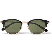 Brioni Round Frame Acetate And Gold Tone Metal Sunglasses Black