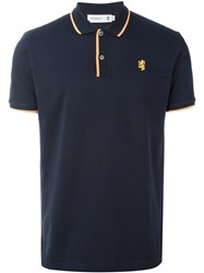 Pringle Of Scotland Embroidered Logo Polo Shirt Blue