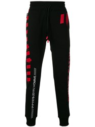 Philipp Plein Stripe Print Track Pants Black