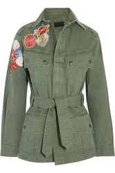 Saint Laurent Embroidered Cotton Gabardine Field Jacket Army Green