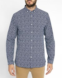 Knowledge Cotton Apparel Navy Printed Organic Button Down Collar Shirt Blue