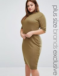 Pink Clove Funnel Neck Ribbed Bodycon Dress Olive Green
